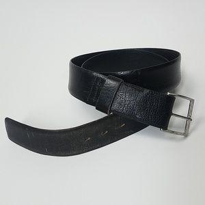 Vintage black leather belt 36 37 38 39 40 silver